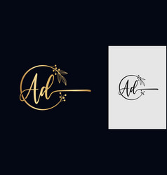 Handwritten signature logo combination initial vector
