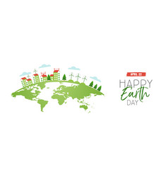 happy earth day web banner of eco friendly city vector image