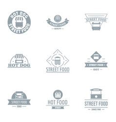 hot food logo set simple style vector image