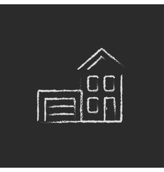 House with garage icon drawn in chalk vector image