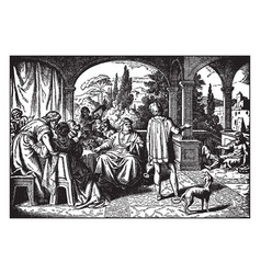 lazarus the beggar and the rich man vintage vector image