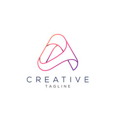 letter a professional line art logo design vector image