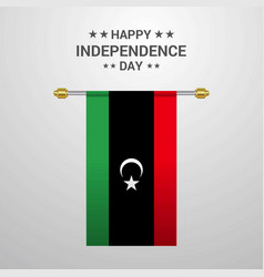 Libya independence day hanging flag background vector