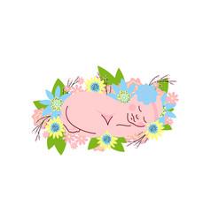 lovely newborn baby girl in light blue flower vector image