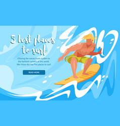 Man riding surfing board ocean waves sportsman vector