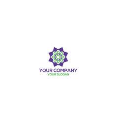 Mandala flower logo design vector