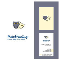 masks creative logo and business card vertical vector image