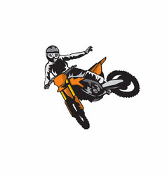 Motocross who jump doing a freestyle vector