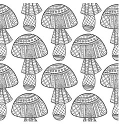Mushrooms black and white seamless vector