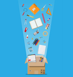 Office accessories in cardboard box vector