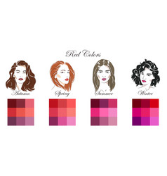 palettes with red colors vector image