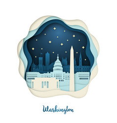 paper art of washington origami concept night vector image