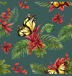 Pattern design with butterfly and tropical plants vector