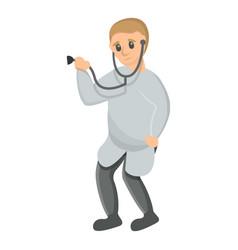 pediatrician stethoscope icon cartoon style vector image