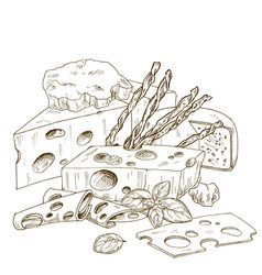 Pile hand drawn cheese with bread sticks vector