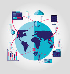 planet earth with data center and set icons vector image