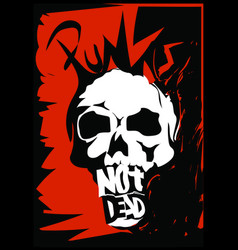 punk rock skull design vector image