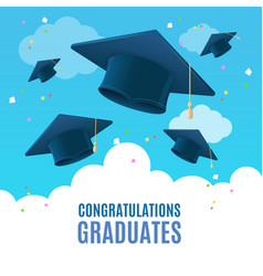 Realistic detailed 3d congratulation graduates vector