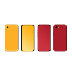 red and yellow smartphone mockup with blank vector image