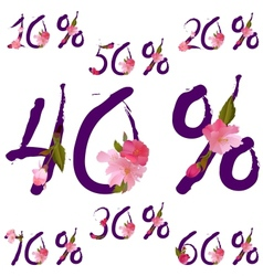 sale percents with spring sakura flowers vector image