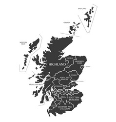 scotland map labelled black vector image