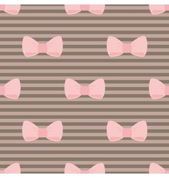 Seamless pattern pastel pink bows brown background vector