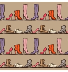 Seamless pattern with shoes hand drawn vector