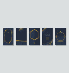 set elegant banners with glitter gold frame vector image