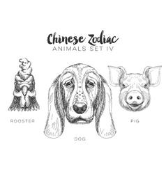 set hand drawn chinese zodiac animal vector image