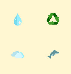 set of eco icons flat style symbols with dolphin vector image