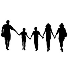 Silhouettes happy family walking vector