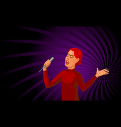Singing woman with microphone vector