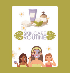 Skincare routine face skin vector