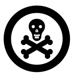 skull and bones icon black color in circle vector image
