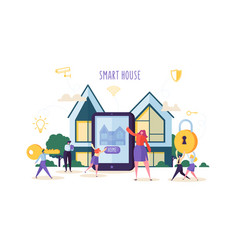 smart house technology concept people characters vector image