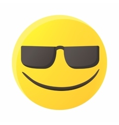 Smiling emoticon in sunglasses icon cartoon style vector