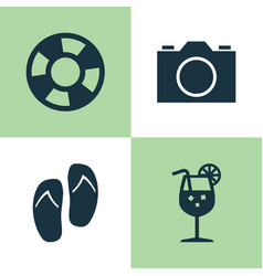 Summer icons set collection of lifesaver video vector