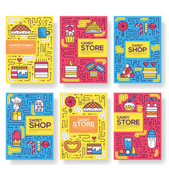 thin line happy people baking brochure cards set vector image
