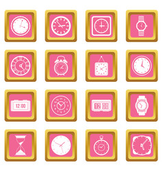 time and clock icons pink vector image