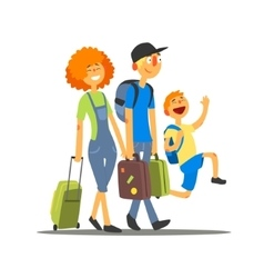 Travelling family going on vacation vector