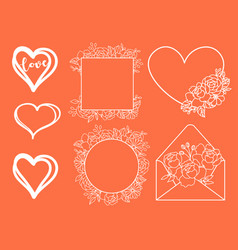 Valentine day doodle elements hand drawn vector