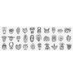 various african ancient masks doodle set vector image