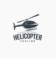 Vintage logo flying helicopter vector
