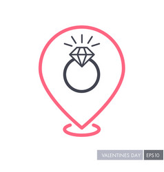 Wedding ring with a diamond pin map icon vector