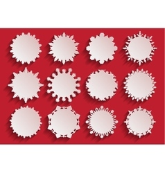 White Paper 3d Snowflake Frames vector image