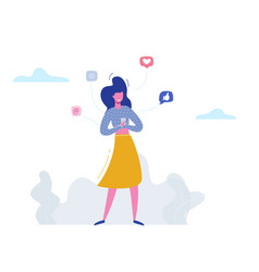 woman character chatting on phone in social media vector image