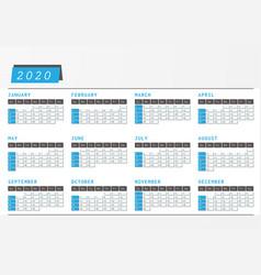 Year calendar 2020 office horizontal design vector