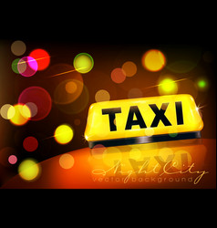 yellow taxi sign on car against city vector image