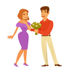 dating couple romantic love relationship vector image