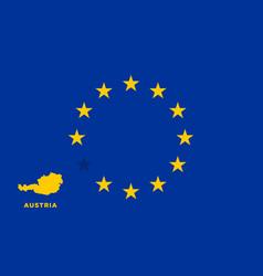 Eu flag with austria country european union vector
